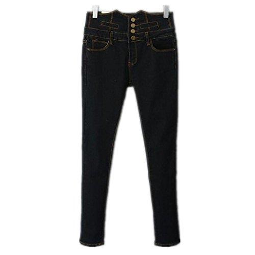 Wgwioo Détruire Les Bleu Denim Stretch Quatre Bouton Jeans Femmes Maigre Relaxed Fit Jambe Droite Long Bouton Couleur Unie Lâche Décontractée Hight Taille Black
