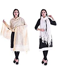 Apratim Women Bhagalpuri Silk & Cotton Dupatta Combo Pack Of 2 Set
