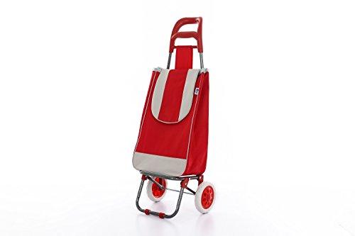 Einkaufswagen Einkaufsroller Einkaufstrolley Einkaufstasche Shopper (Rot)