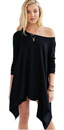 Femmes Sexy manches longues bretelles en vrac irrégulière longue chemise massif Blouse Noir