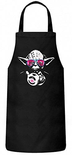 Shirt Happenz Joda #3 Schürze | Master Joda DJ | Meister Joda | Episode | Kochen & Backen | Grillschürze, Farbe:Schwarz (Black PW102);Größe:60cm x 87cm (Schwarz Adam Shirt)