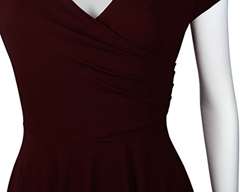 Angerella Donne Vintage Una Linea Tunica Flared Vestito Cap Sleeve Cross V-Collo Casuale Ruched Vestito Vino Rosso