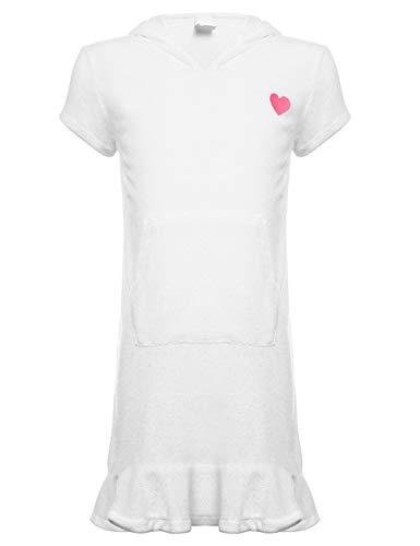 DUSISHIDAN Strandponcho Mädchen Süß Bikini Cover Up Sommer Badeanzug UV Schutz mit Abdominal Pocket Weiße S (Mädchen Badeanzug Weißen Up Cover)