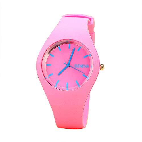 KaloryWee Montre Femme Pas Cher Bracelet Silicone Cadeau Fashion Quartz Rond Gelée Watch Analogique Sport Fashion Aiguille Poignet Casual Bandage Simple