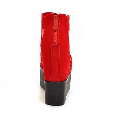 LYNXL Talloni delle donne Primavera Estate Autunno Inverno Club Scarpe Fleece Tulle festa di nozze e abito da sera Zeppa Piattaforma Zipper Nero Rosso Red