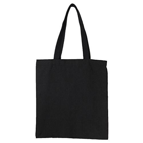(baiyao Natürliche Baumwoll-Tragetaschen, DIY Canvas Tote Bag für Frau Stoff Einkaufstasche Schultertaschen blanko handgefertigt Geschenk Zero Abfallbeutel Leinwand Einkaufstaschen wiederverwendbar Lebensmittels Leinwand Tasche Vertikal Schwarz )