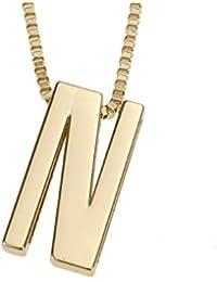 8c06877ceefd Udekit Mode Metall Gold DIY Buchstabe N Initialen Kette Name  Anfangsbuchstabe Anhänger Halskette für Frauen Männer