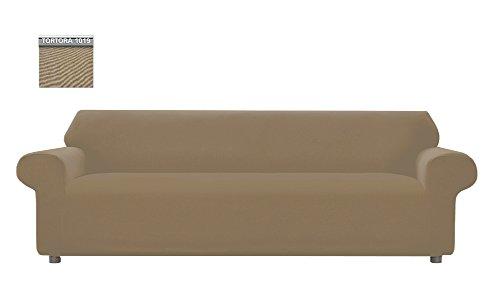 Copridivano genius tinta unita, per divano xl 4 posti, colore tortora 1019