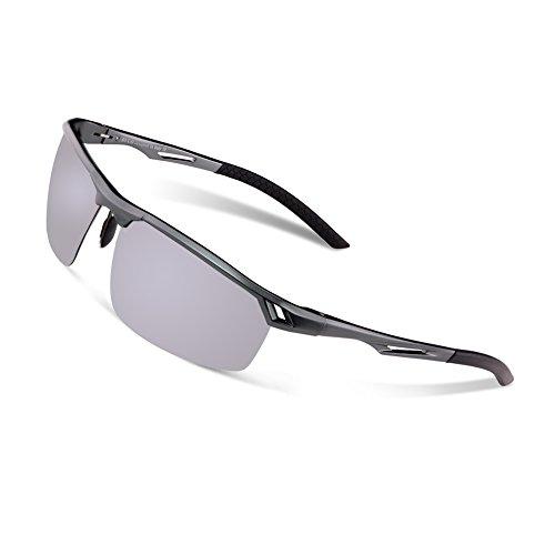 Duco Herren Sport Stil Polarisierte Sonnenbrille Metallrahmen Brille 8550, Gunmetal/Silber Verspiegelt