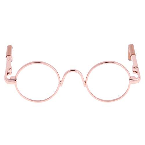Sharplace Puppenzubehör für 1/3 BJD Puppen - Miniatur Hippie Runde Brille mit Runden Rahmen - Gold Rahmen Klare Linse
