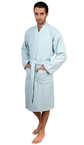 TowelSelections Herren-Kimono-Bademantel, türkische Baumwolle, Frottee, hergestellt in der Türkei - Blau - Medium/Large -