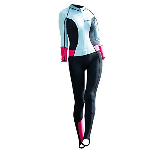 EUCoo_ Wetsuit Frauen Langarm UV Schutz Neoprenanzug 0.5mm Neopren Spearfishing Siamese Badeanzug Surfwear(Himmelblau, S)