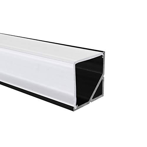 OPAL - 200 cm LED Aluminium Profil ECKE-90 in Schwarz + 200 cm weiß milchige Abdeckung für LED-Streifen Alu von Alumino®