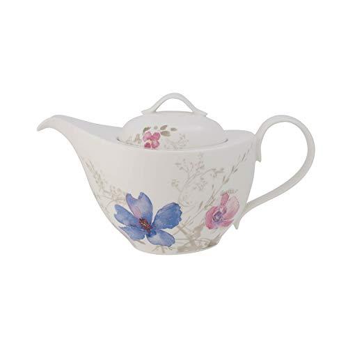 Villeroy & Boch Mariefleur Gris Basic Teekanne, stilvolle Kanne mit filigranem Blumendekor aus Premium Porzellan, spülmaschinenfest, 1.2 l