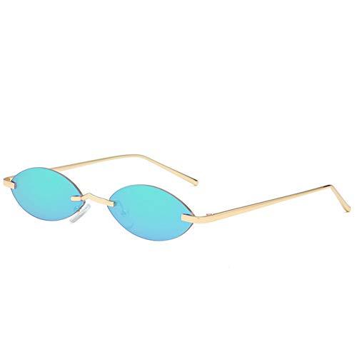 YOGER Sonnenbrillen Männer Metall Cat Eye Oval Sonnenbrille Frauen Retro Kleine Randlose Sonnenbrille Designer Vintage 90Er Jahre Sonnenbrille Spiegel Uv400