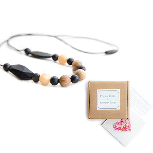 Coupon Matrix - 'Oak Beads' New Teething Necklace, Gift Box & Greeting Card; Natural Organic Oak Wood & Silicone Beads Jewellery - Black