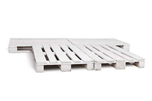 Dydaya Estructura/Base de Cama de Palets/Pallets Estilo Industrial (Blanco, 4)