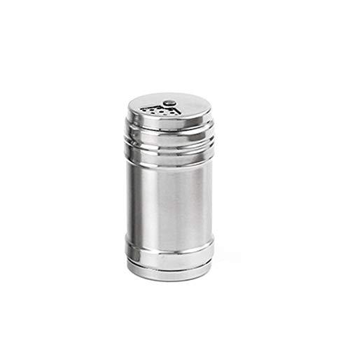 LYCOS3 Botella de Acero Inoxidable para Especias y pimientas, con Tapa Ajustable para salero, azúcar, Especias, Pimienta, para condimentos de condimento, con Cubierta giratoria, Show, Small