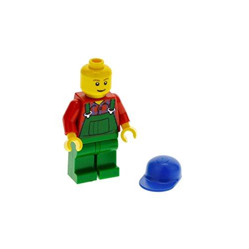 Preisvergleich Produktbild 1 x Lego System Figur Mann Town City Farm Bauer Torso rot grüne Latzhose Basecap blau für Set 7634 cty136