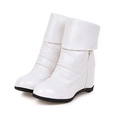 Trae E Femminile Solido Bianco Lana Bene Agoolar Colore Stivali Tacco Tondo Alto Corto xqHEYq5B
