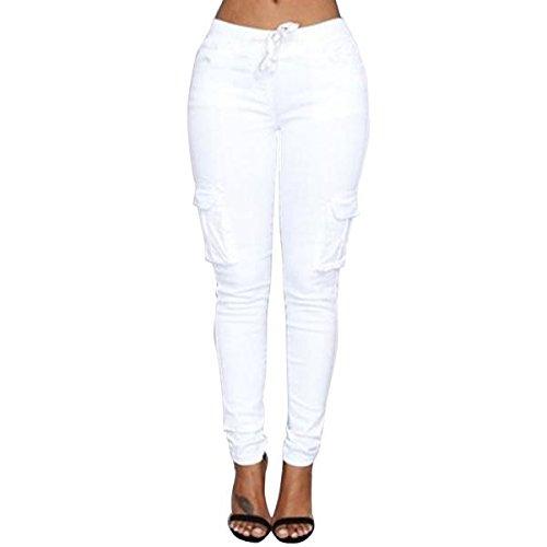 Taille Denim Pant (VRTUR Hosen, Damen Freizeithose Stretch Beiläufig Skinny Jogginghose Mode Hip Push up Slim Fit Pants Einfarbig Hose, Bequeme Elastischer Taille Jeans Weiß S)