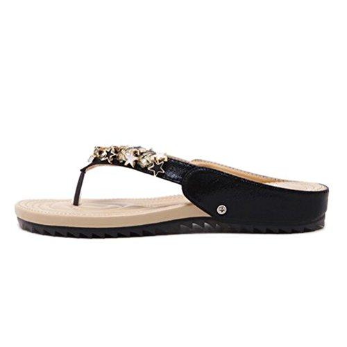 Vogstyle Femme Sandales Plate-forme en Cuir ornées avec boucle à lorteil Chaussures Tong Dété Style 2 Noir