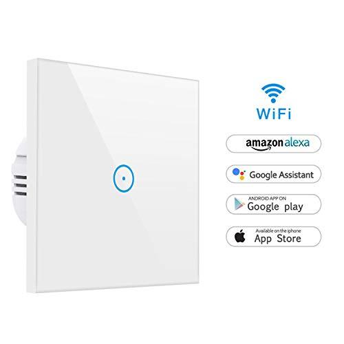 Smart Alexa Lichtschalter,MEAMOR WiFi Funk Wasserdicht Touch Wandschalter Kein Hub erforderlich,Funktioniert mit Alexa/Google Assistant/Smartphone(1 Gang)