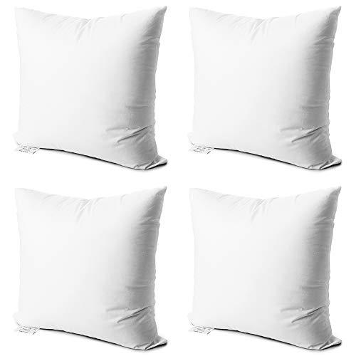 Edow Dekokissen Einsätze, 4 Stück weiche hypoallergen Down Alternativ Polyester quadratische Form Dekorative Kissen Weiß 18x18 - Dekorative Formen