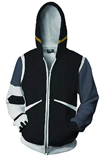 Voltron:Legendary Defender of The Universe Shiro Mantel Zip-up Hoodie mit Kapuze Schwarz ()