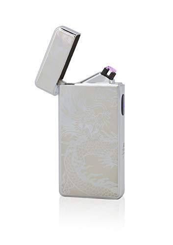 TESLA Lighter T13 Double Arc Silber inkl. Motiv Drache