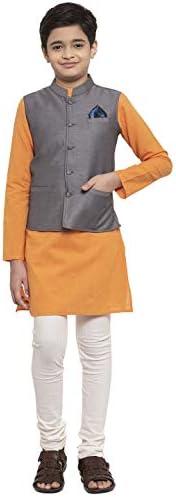NEUDIS by Dhrohar Dupion Silk Nehru Jacket & Cotton Long KurtaWith Churi Pajama Set For Boys - Grey &