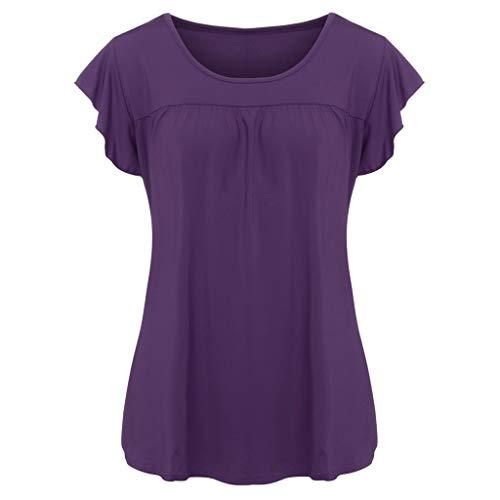 Yvelands Damen T-Shirt Beiläufiges Kurzarm-T-Shirt Lose Bluse mit O-Ausschnitt(Lila,XXL)