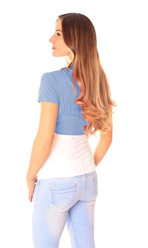 Easy Young Fashion Damen Bolero Kurzarm Jäckchen One Size Jeansblau