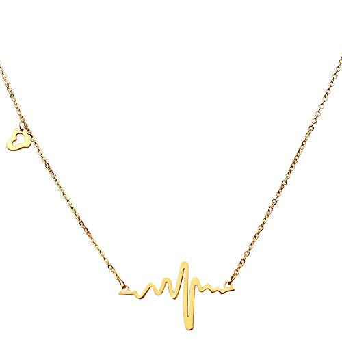 tumundo Halskette Herzschlag Puls Rythmus EKG Herz-Frequenz Elektrokardiogramm Anhänger Liebe Edelstahl Damen-Schmuck, Farbe:golden