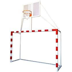 Portería balonmano con canasta minibasket tablero antivandálico aro macizo altura basket. Redes incluidas.