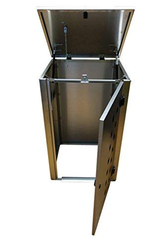 Mülltonnenbox Edelstahl, Modell Eleganza Quad11, 240 Liter, Viererbox in Weiß RAL 9016 - 2