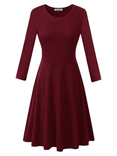 Suimiki Damen Skaterkleider Knielänge Rundhals Stretch Basic Kleide, Weinrot(lange Ärmel), L Langen Ärmeln Kleid