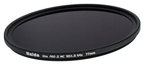 Slim Graufilter PRO II MC (mehrschichtvergütet) ND64 77mm. Schlanke Fassung + Cap mit Innengriff