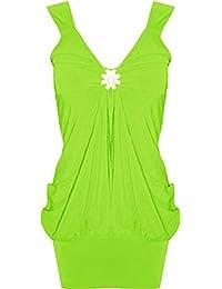 Mix lot Neuen Frauen reizvolle Broach Strap Mini Abendmode Kleid-Damen V-Ausschnitt Strass Schnalle Brosche Krause Fall Vest Top kurzes Kleid Größe 36-50 (S/M 36-38, Kalk)