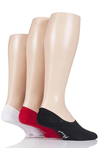 Herren 3 Paar Pringle Einfarbige Baumwolle PED-Socken-Schwarz / Rot / Weiß 2-40-45 Herren -