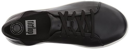 FitFlop F Sporty Lace Up Sneaker - Black Leather Schwarz