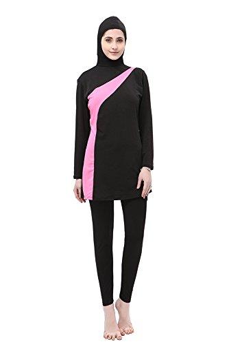 BOZEVON Muslimischen Badeanzug - Muslim Islamischen Bescheidene Badebekleidung Modest Swimwear Beachwear Burkini für Damen, Schwarz+Rosa, EU M=Tag L