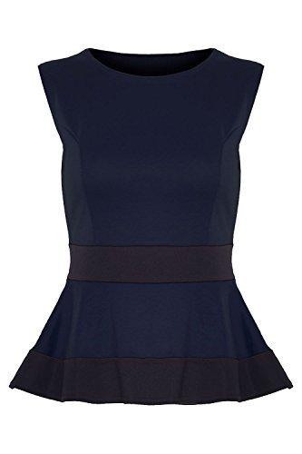 Womens Ladies Contrast Waist Panel Peplum Frill Skater Mini Dress Top Plus Size