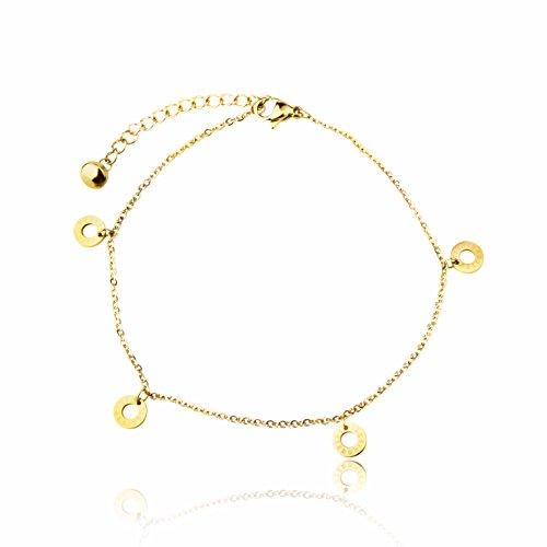 Armband-Damen-mit-Anhnger-Rmische-Uhr-von-BRANDLINGER-SCHMUCK-Hochwertiges-Armkettchen-mit-3-Micron-und-18-Karat-Goldplattierung-Kettenlnge-174cm-extra-Designed-in-Deutschland-