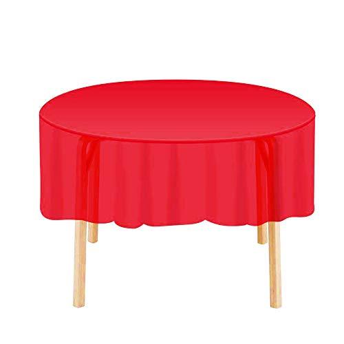 SalSell Einweg-Tischdecken aus Kunststoff, rund, 213,4 cm, 5 Stück rot