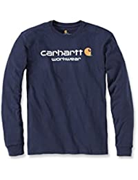 Carhartt Mens Core Long Sleeve Polycotton Crew Neck Logo T-Shirt