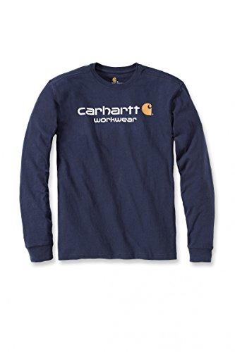 Carhartt Core Logo Long Sleeve T-Shirt, CH102564-navy, S (T-shirt Ein Besseres)