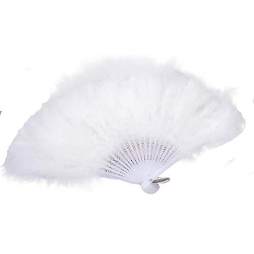 (Huihong Feder Falten Handfächer Hochzeit Showgirl Tanz Elegante Große Fan für Fancy Kostüm Tanz Karneval (Weiß))