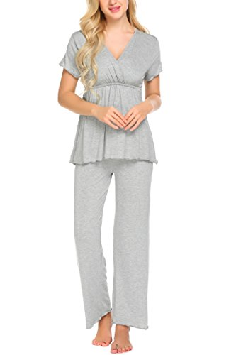 Unibelle Baumwolle Stillpyjama Damen Schlafanzuge Pyjama Set Nachthemden Hausanzug Kurzarm Shirt & Hose Grau