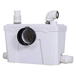 HOMCOM Hebeanlage Abwasserpumpe Fäkalienpumpe Haushaltspumpe für WC Dusche, 400W, 45x21,5x29cm, L45 x B21,5 x H29 cm